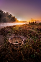 An old wheel washed up on a Potomac River island